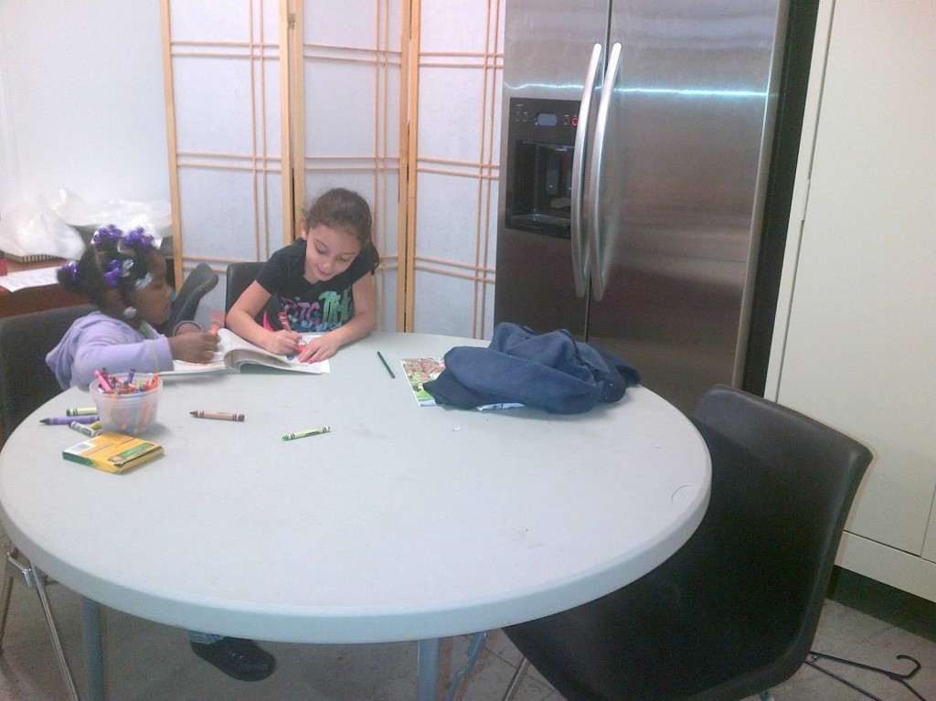 Coloring together after school